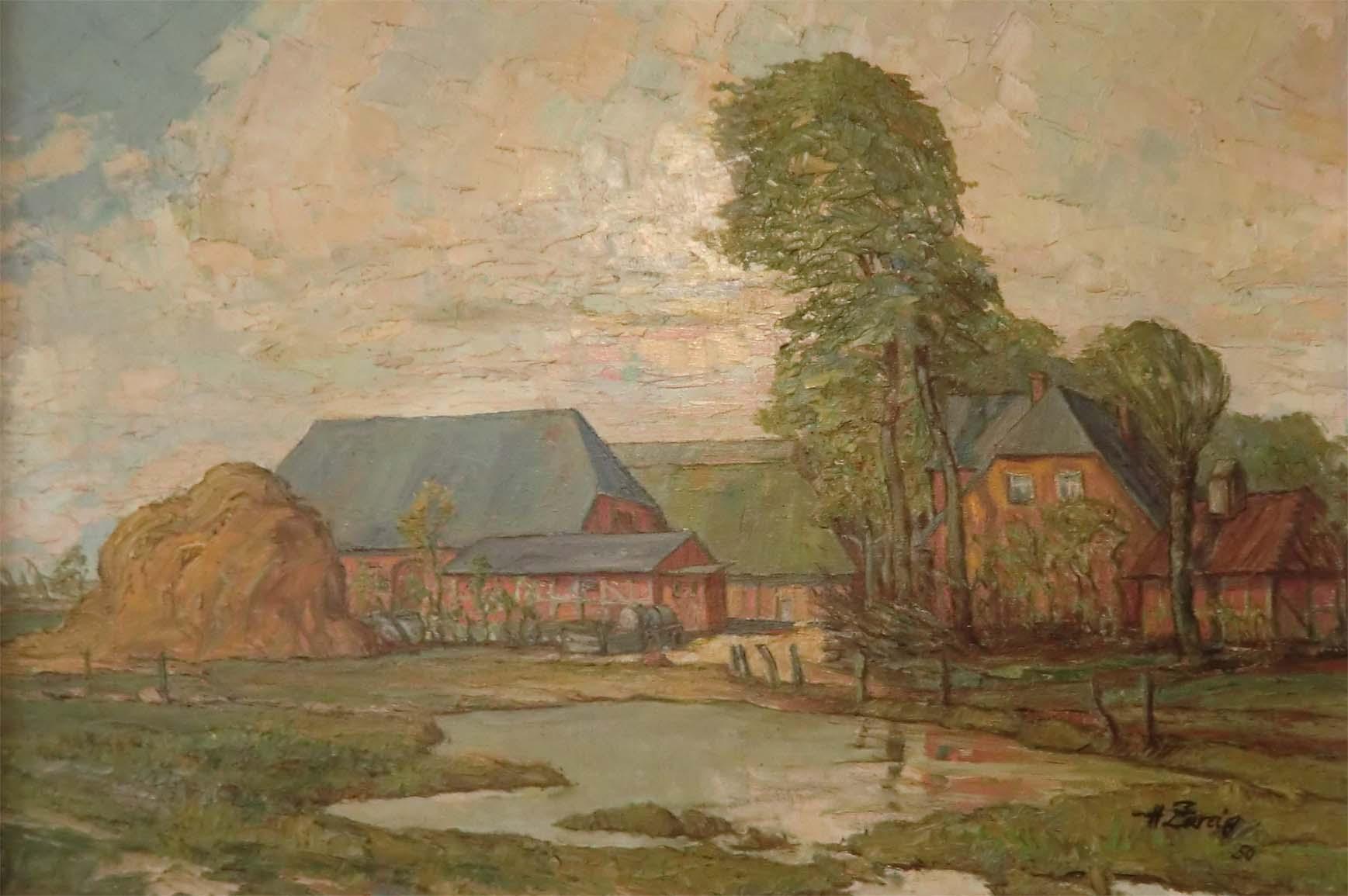 Die Hofanlage -gemalt von Zweig - um 1950
