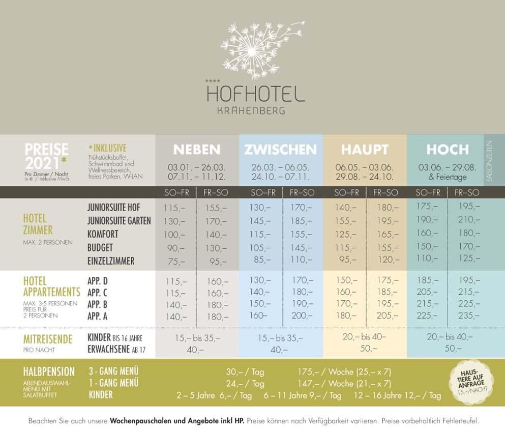 HofHotel Krähenberg - Preisliste 2021